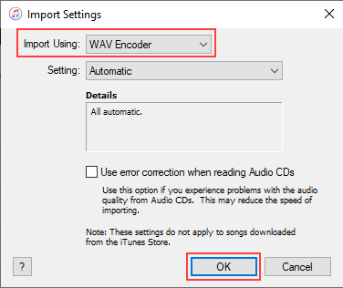 iTunes Import Settings