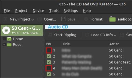 K3b Audio CD track list
