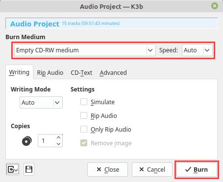 k3b Audio Project window