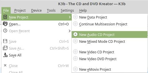 k3b New Audio CD Project