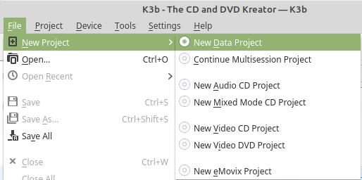 k3b new data project