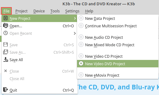 K3b New Video DVD Project