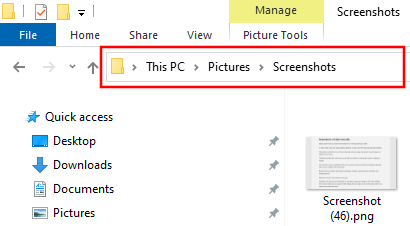 Location of the screenshots folder in Windows 10
