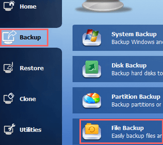 make a file backup using aomei backupper standard