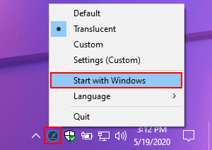 Make Ashampoo Taskbar Customizer start with Windows 10