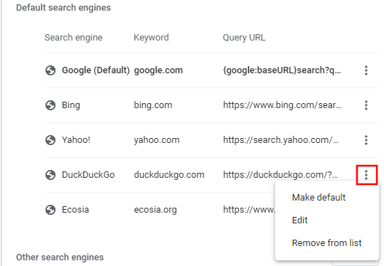 Manage search engines in Google Chrome