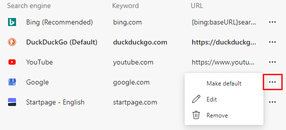 Manage search engines in Microsoft Edge