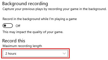 Maximum recording length setting in Windows 10