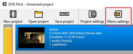 Menu settings in DVD Flick