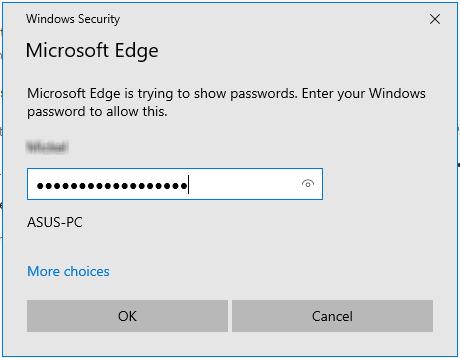 Microsoft Edge authentication window