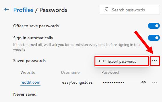 Microsoft Edge Export passwords option