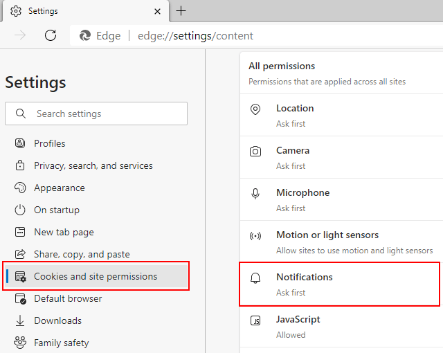 Microsoft Edge notifications settings