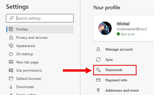 Microsoft Edge passwords