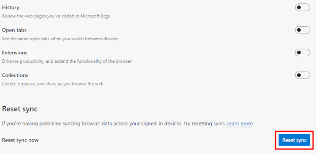 Microsoft Edge Reset sync button