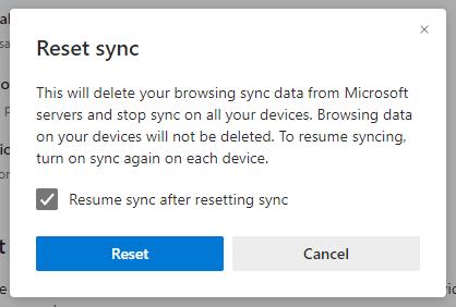 Microsoft Edge Reset sync window