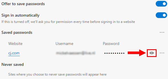 Microsoft Edge show password button