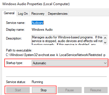 Microsoft Windows Audio service properties