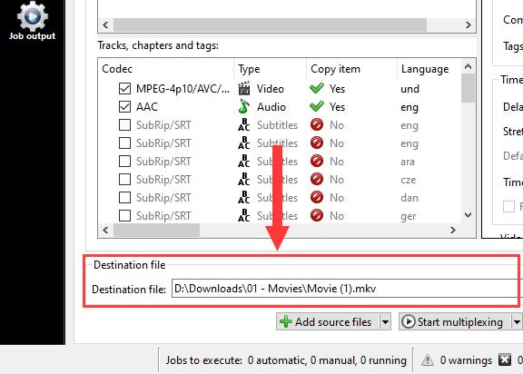 MKVToolNix Destination file section
