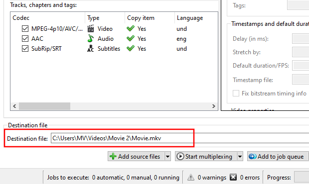 MKVToolNix Destination file section
