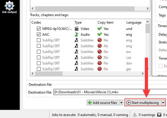 MKVToolNix Start multiplexing button