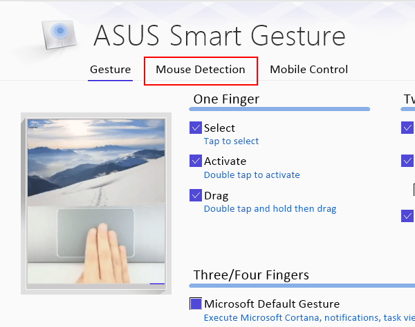 Mouse Detection settings in ASUS Smart Gesture