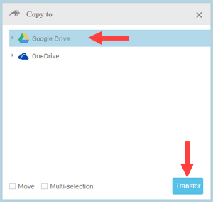 move files from onedrive to google drive using multcloud