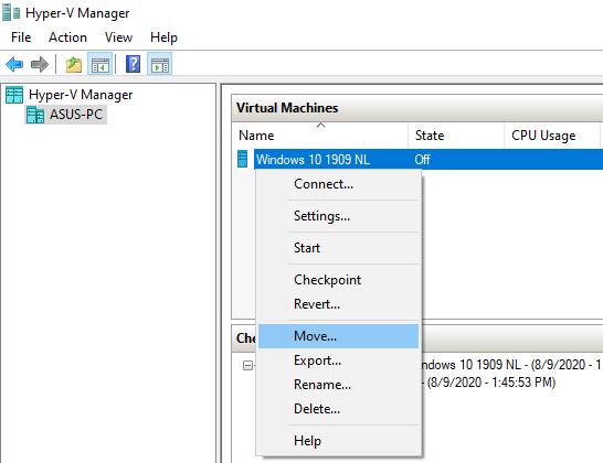 Move virtual machine option in Hyper-V