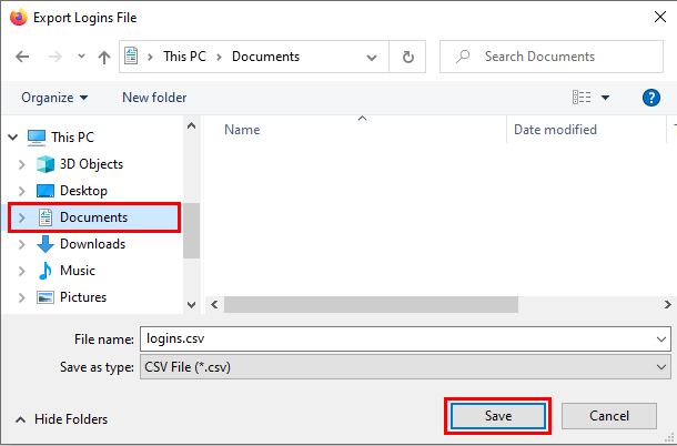 Mozilla Firefox Export Logins File window