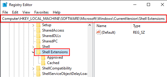 Navigate to Shell Extensions