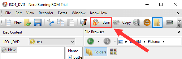 Nero Burning Rom Burn button