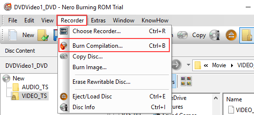 Nero Burning Rom Burn Compilation menu entry