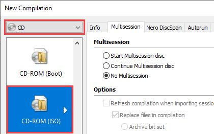 Nero Burning Rom CD-ROM (ISO) option
