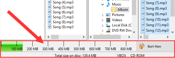 Nero Burning Rom total size on disc