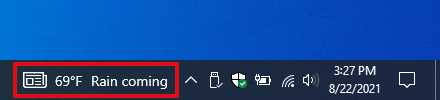 News and interests in Windows 10 taskbar