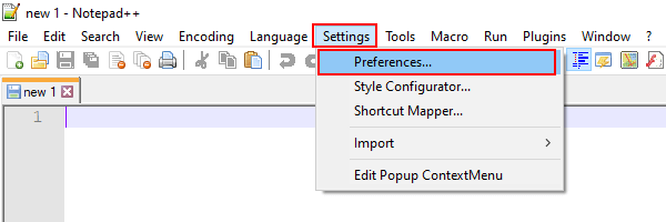 Notepad++ preferences