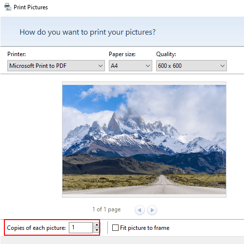 Number of copies setting in Print Pictures window in Windows 10