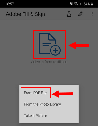 Open a PDF file in the Adobe Fill & Sign app