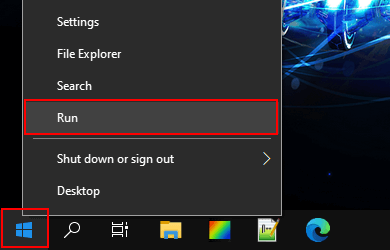 Open a Run window in Windows 10