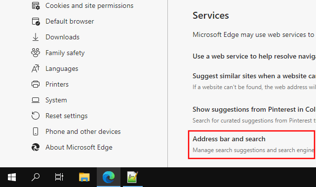 Open address bar and search settings in Microsoft Edge