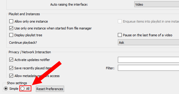 Open advanced preferences in VLC media player