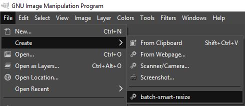open the batch-smart-resize script in gimp