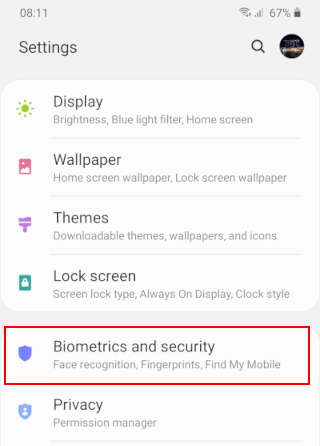 Open Biometrics and security on a Samsung phone