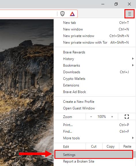 Open Brave settings