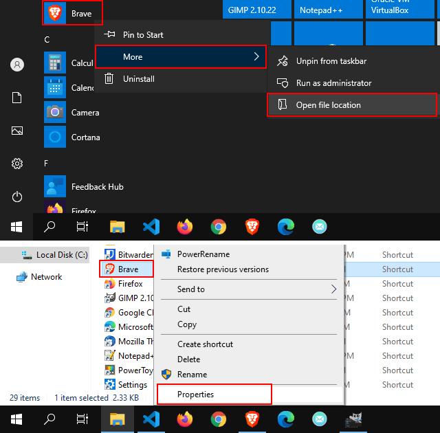 Open Brave start menu shortcut properties