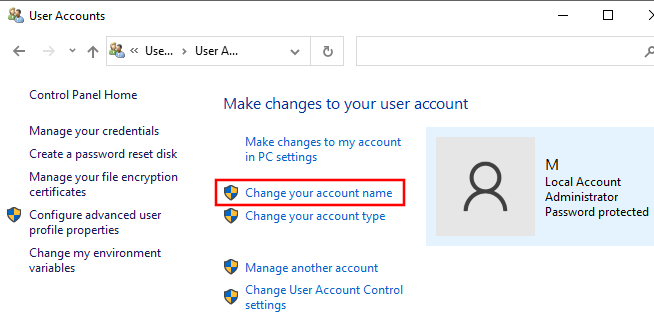 Open change account name setting in Windows 10