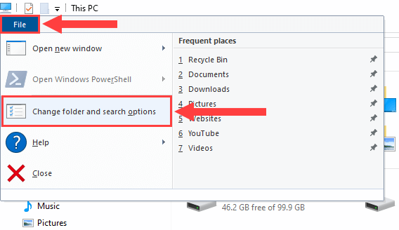 open change folder and search options in file explorer
