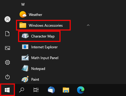 Open Character Map in Windows 10 via start menu