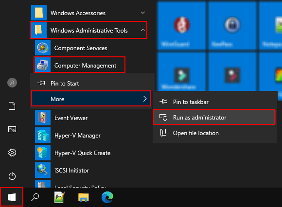 Open Computer Management as administrator in Windows 10