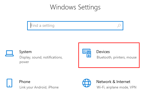 Open Devices settings in Windows 10