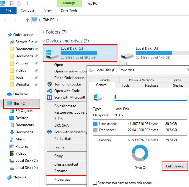 Open Disk Cleanup in Windows 10